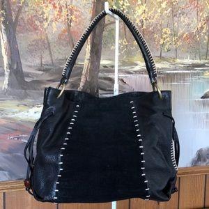Sigrid Olsen black leather suede handbag purse